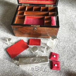 Antique Dressing Case Vanity Box Hallmarked Silver 1840s Victorian Secret Drawer