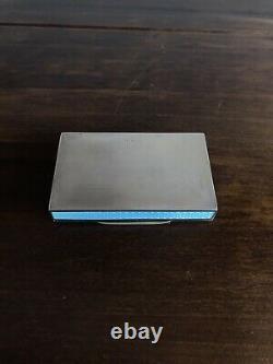 Antique German Guilloche Enamel Solid Silver Snuff Box Case London Impo 1918