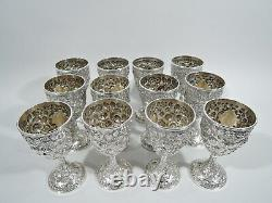 Antique Goblets Set of 12 Baltimore Style Repousse American Sterling Silver