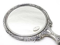 Antique Gorham Sterling Silver Victorian Chased Hand Mirror Hair Brush NO 23