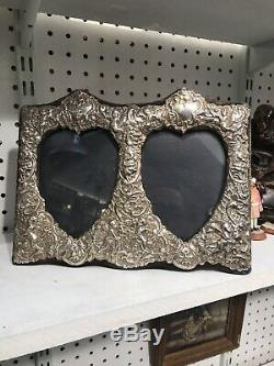 Antique London Solid Silver Double Picture Heart Photo Frame Cherubs And Flowers