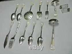 Antique MOTHER OF PEARL SILVERWARE Sterling Silver SET OF 12 PIECES PLUS SHAKERS