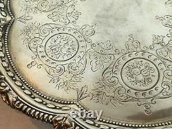 Antique Pair English Sterling Silver Salver Trays 9 Inches 640 Grams Goldsmiths