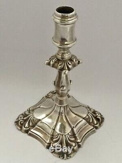 Antique Pair of Victorian Sterling Silver Taper Candlesticks, London 1894