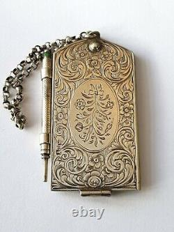 Antique-Rare-Solid Silver Cased Chatelaine Aide Memoire-Highest Score-Bham-c1856