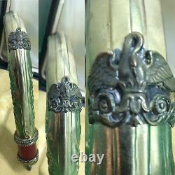 Antique Russian Fabergé Enamel Solid Silver Diamonds Walking Stick Handle & Box