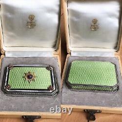 Antique Russian Faberge Guilloche Enamel Solid Silver Diamonds Rub Snuff Box