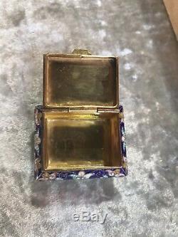 Antique Russian Gold Gilt Cloisonné Enamel Solid Silver Pill Box Or Snuff Case