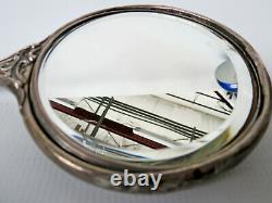 Antique STERLING Art Nouveau hand mirror silver 925/1000 Victorian Cherub ornate