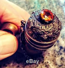 Antique Scottish Mull Chatelaine Vinaigrette Silver with 3.5 ct Imperial Topaz
