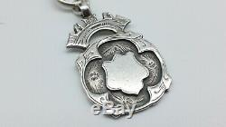 Antique Silver Albert Watch Chain & Fob Charles Daniel Broughton 1896-98