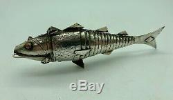 Antique Silver Articulated Fish Spice or Snuff Box circa 1880