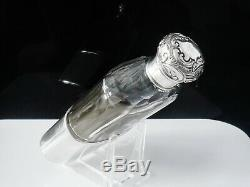 Antique Silver Cut Glass Hip Flask, Chester 1901, Charles James Fox
