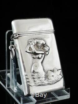 Antique Silver Vesta Case MERMAID, Hallmarked Birmingham 1867