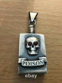Antique Skull Pendant Silver & Garnets Victorian Amazing Memento Mori Bottle