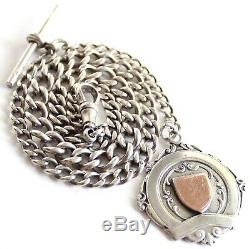 Antique Solid Silver Albert Pocket Watch Chain & Fob Medal Vintage Old