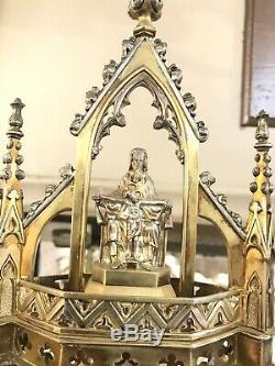 Antique Solid Silver Cherch Religious Monstrance Turqvise & Garnet London By HL