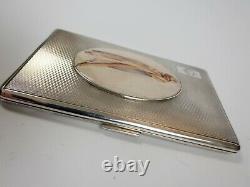 Antique Solid Silver Cigarette Case Erotic Blonde Female Sheer Sheet 1954