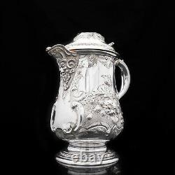 Antique Solid Silver Flagon/Tankard with Original Victorian Chased Motifs 1862