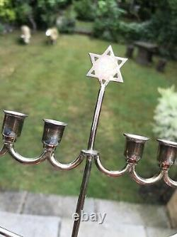 Antique Solid Silver Jewish Menorah Candelabra Candlestick London 1930 W. S