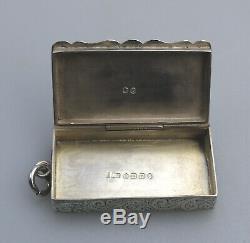 Antique Solid Silver Rare Victorian novelty Vesta Box C. 1888