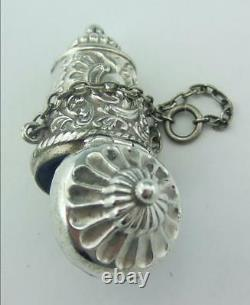 Antique Solid Silver Thimble Holder Case For Chatelaine