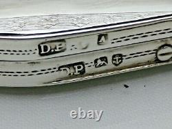 Antique Solid Sterling Silver Violin Case Shaped Snuff Box Pill Box 1848 (SSN)