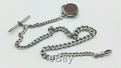 Antique Sterling Silver Albert Watch Chain Bloodstone & carnelian Spinner Fob
