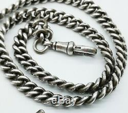 Antique Sterling Silver Double Albert Watch Chain & Large Fob Medal C. 1919
