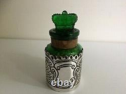 Antique Sterling Silver & Green Glass Lavender Salts Bottle Birmingham 1903