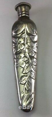 Antique Sterling Silver Repousse Floral Chatelaine Vinaigrette Perfume Bottle M1