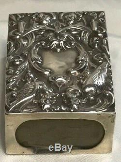 Antique Sterling Silver Repousse Match Box By William Comyns & Son London