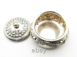 Antique Sterling Silver Repousse Vanity Jar Trinket Box Chased WJB & Co Braitsch