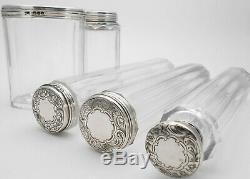 Antique Sterling Silver Topped Cut Glass Vanity Jars / Bottles Victorian