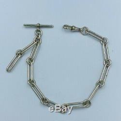 Antique Sterling Silver Trombone Link Single Albert Watch Chain & T-Bar #609