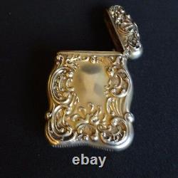 Antique Sterling Silver Vesta Gilt Enamel Blue Chatelaine Match Case Holder