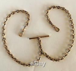 Antique Victorian 9ct Rose Gold Double Albert Pocket Watch Chain 18.6 grams