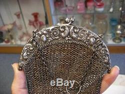 Antique Victorian Art Nouveau Sterling Silver Chatelaine Mesh Purse