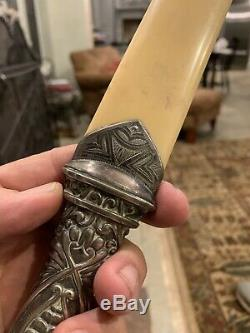 Antique Victorian Bone & Silver Handle Large Page Turner
