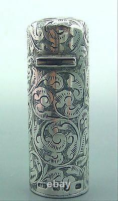 Antique Victorian Cased Silver Perfume Bottle Hilliard & Thomason