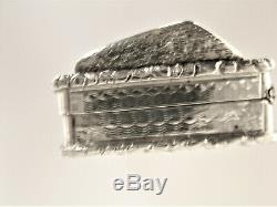 Antique Victorian Castle Top Sterling Silver Vinaigrette by Nathaniel Mills-1844