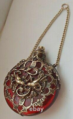 Antique Victorian Cranberry Gold Guilded Chatelaine Scent Perfume Bottle C1880s