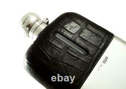 Antique Victorian Crocodile Leather & Sterling Silver Hip Flask 1895