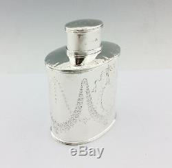 Antique Victorian English Solid Silver Tea Caddy Carrington