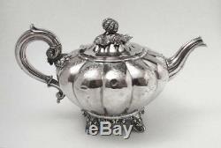 Antique Victorian English Sterling Silver Melon Teapot Edward & John Barnard