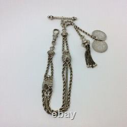 Antique Victorian Fancy Albertina / Albert Pocket Watch Chain & Tassel Fob T-bar