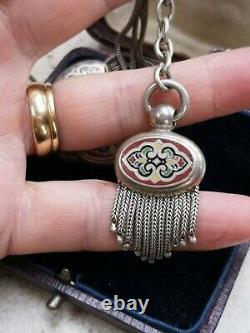 Antique Victorian French Silver Albert Watch Chain Mosaic Sliding Lozenges