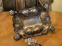 Antique Victorian German Solid Silver 900 Inkstand With Horse Figurine