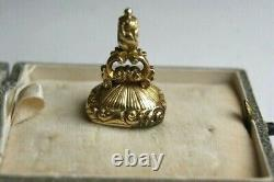 Antique Victorian Gold Cased Carnelian Initialled Seal Pendant Watch Fob Charm