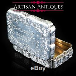 Antique Victorian Hand Engraved Solid Silver Snuff Box Birmingham 1851